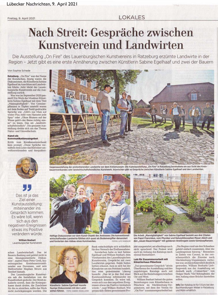 Artikel in den Lübecker Nachrichten vom 9. April 21